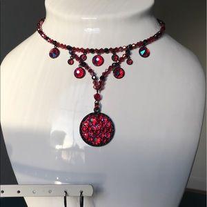 Shiny Fx Crimson Shimmer Swarovski Crystal Neclace